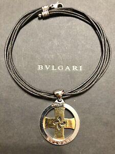 BVLGARI / BULGARI Tondo 18k Yellow Gold & Steel Cross Pendant Necklace