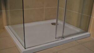 Slimline 35mm 1000x800 DIAMOND Stone Shower Enclosure Tray Rectangle Free Waste