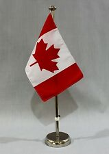 "DRAPEAU DE TABLE "" Canada "" 25x15 cm avec chromé 44 cm support"