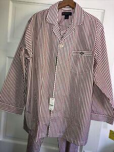 Brooks Brothers Men's Burgundy Striped Broadcloth Pajamas Set L