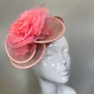 One Off Pale Pink Designer Fascinator by Hat Couture Wedding Bridal Racing Hat