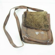 Post Card Italy Leather Crossbody Bag Purse Brown Faux Fur Flap