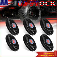 6 Pods 9-SMD Red LED Rock Lights Fender Underbody Light For Jeep Offroad RZR 4X4