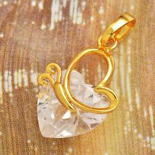 Colgante corazon circonita con oro amarillo 18KGF mas cadena envio gratis.