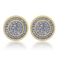 Women Diamante Jewelry Gold Plated Round Zircon Crystal Earring Earbob Ear Studs