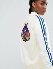 Adidas Women's cream and blue embroidered bomber uk size 14