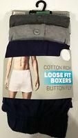 Men's Boxers Loose Fit 3pk Cotton Rich Button Fly Sizes XS to 2XL BNWT