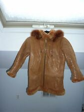 BROWN SPARKLE SHEARLING HOODED WINTER COAT FOR GIRLS