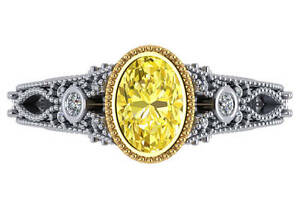 1.75 ct GIA fancy vivid yellow SI1 natural oval diamond engagement ring 24k