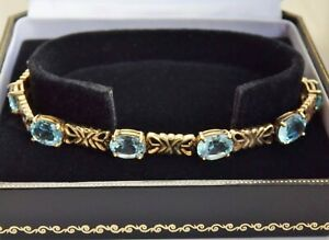 Stunning 9ct Gold Blue Topaz set Bracelet Hallmarked Birmingham 2006