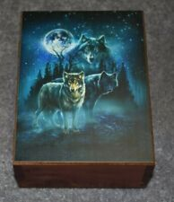 "#4565 TWILIGHT PROTECTORS WOLVES KEEPSAKE JEWELRY WOOD CEDAR BOX 4.5"" X 6"""