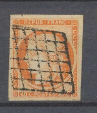 Timbre 40c. Orange N°5 oblitération grille, belle marge. Superbe. X1337