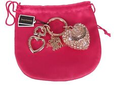 Juicy Couture Crystal Pave Metal Heart Key Fob Keychain Ring New Pouch Gift Box