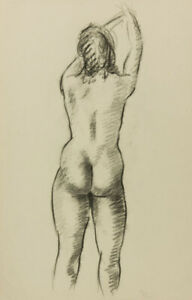 1972 Charcoal Drawing - Nude with Raised Arms