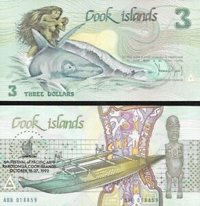 Cook Islands : 3 Dollars 1987 (1992) P-6 Commemorative UNC