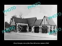 OLD LARGE HISTORIC PHOTO OF PERRY GEORGIA, THE PURE OIL GAS STATION c1940