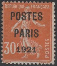 "FRANCE TIMBRE PREOBLITERE N° 29 "" SEMEUSE POSTES PARIS 1921 "" NEUF xx TB J370"