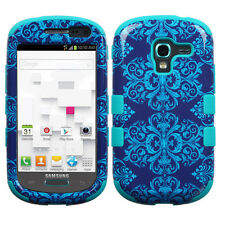 For Samsung Galaxy Exhibit T599 IMPACT TUFF HYBRID Case Skin Cover Blue Damask