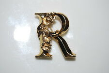 NICE VINTAGE AVON FANCY LETTER R WITH FLOWER SPRAY GOLDTONE METAL PIN