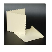 "50 IVORY SCALLOPED 6"" x 6"" BLANK CARDS 270gsm & ENVELOPES CARD MAKING CRAFT 1012"