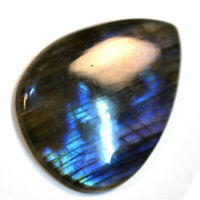 Cts. 34.05 Natural Blue Purple Fire Labradorite Cabochon Pear Cab Loose Gemstone