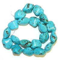 NG2874 Blue-Green Turquoise 20mm Polished Nugget Magnesite Gemstone Beads 15""