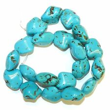 NG2874f Blue-Green Turquoise 20mm Polished Nugget Magnesite Gemstone Beads 15""