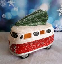 LED Ceramic Driving Home for Xmas. Camper Van With Tree  Christmas Decoration.