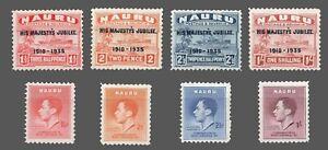 Nauru #31-34 & 35-38  MLH 2 Sets  25th KG V-  Coronation KG VI  1935 / 1937 F/VF