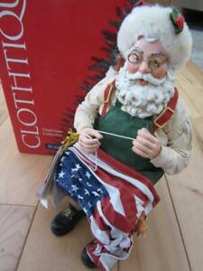 POSSIBLE DREAMS CLOTHTIQUE A GIFT TO A NATION SANTA SEWING THE AMERICAN FLAG