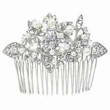 Austrian Crystal Cream Simulated Pearl Bridal Leaf Hair Comb Clear Silver Tone