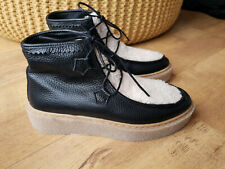 RRP £148 FREE PEOPLE ANKLE BOOTS Black Real Leather Fur Lined Chelsea UK 6 / 39