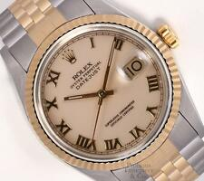 Rolex Datejust 16233 2-Tone 18k S/Steel Watch-Roman Cream Dial-18k Fluted Bezel