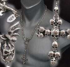 """22"""" 94G SKULL CROWN CROSS ROSARY 925 STERLING SILVER MENS NECKLACE CHAIN PRE"""