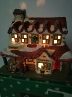 Vintage North Pole Express Christmas Village Lighted Train Station Original Box