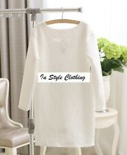 """""""KRIS"""" BEAUTIFUL LADIES NEW SIZE 10 RICH WHITE QUILTED STRETCH TUNIC TOP DRESS"""