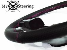FOR TOYOTA YARIS MK2 PERFORATED LEATHER STEERING WHEEL COVER HOT PINK DOUBLE STT