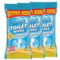 3x 50 Pack Jumbo Toilet Cleaning Wipes by Duzzit Extra Strong Super Size Large