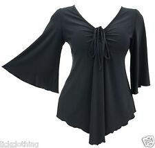 Womens size 16 - 26 flared sleeve stretch Black gothic floaty top ladies *LICK*
