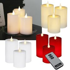 3er Set LED Candles with Remote Control & Timer Flickering Genuine-Wax