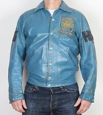 "Varsity Bomber in Pelle Cappotto XS Small UK 12, 36"" MARRONE (73 C) anni'80 Mining"