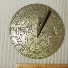 MID- 20TH CENTURY BRONZE/BRASS SUNDIAL DATED 1760 WITH GRIFFINS 'TYME FLYES'.