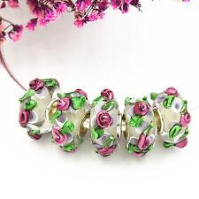 5pcs MURANO Lampwork charm Beads fit 925 silver European Bracelet Chain a466