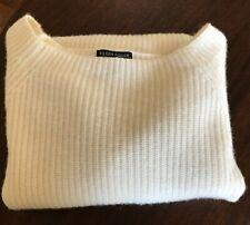 NWOT EILEEN FISHER 100% Cashmere Bateau Neck Ribbed Sweater ~ Medium ~ Ivory
