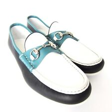 S-292169 New Gucci Miro'soft Black/White/Grn Loafer Shoe Size US10.5/Marked 9.5
