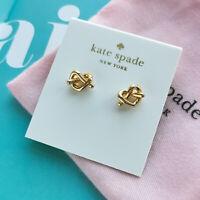 NWT Kate Spade Loves me knot gold stud earrings + dust bag