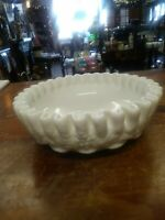 "Westmoreland Glass PANELED GRAPE MILK GLASS 6 1/2""  ruffled Bowl."