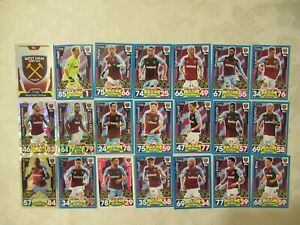 West Ham United Football Players-2017/18 x21-Football Match Attax Trading Cards