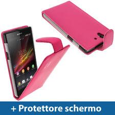 Rosa Eco Pelle Custodia Case Cover Protezione per Sony Xperia Z Smartphone