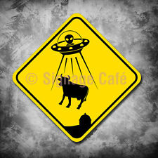 "Alien Cow Abduction - Crossing Sign - 16"" X 16"" Yellow Aluminum, Never Rust"